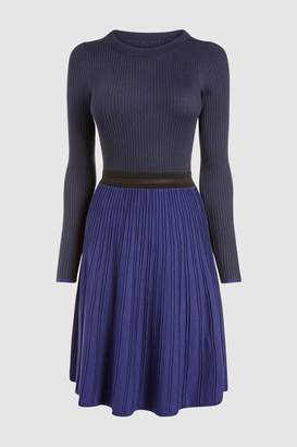 Next Womens Navy Blocked Fit And Flare Dress