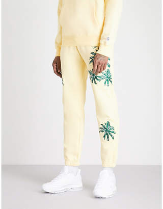Billionaire Boys Club Palm-embroidered cotton-jersey jogging bottoms