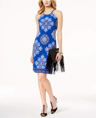 INC International Concepts I.n.c. Printed Hardware-Halter Midi Sheath Dress, Created for Macy's