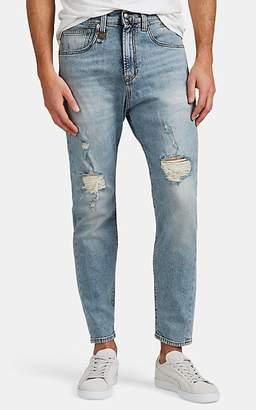 R 13 Men's Drop-Rise Distressed Slim Jeans - Blue Size 30