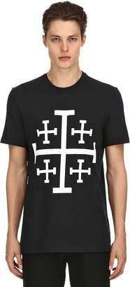 Neil Barrett Stars Printed Cotton Jersey T-Shirt