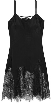 McQ Alexander McQueen - Lace-trimmed Silk Camisole - Black $415 thestylecure.com