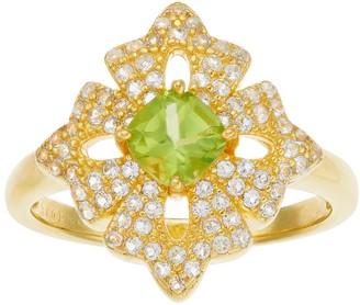 14k Gold Over Silver Peridot & White Topaz Flower Ring