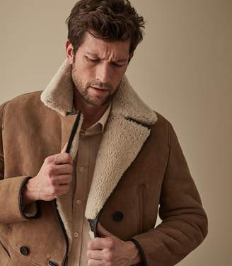 Reiss BRODIE SHEARLING DOUBLE BREASTED COAT Tan