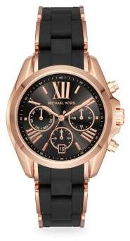 Michael Kors Bradshaw Rose Goldtone Stainless Steel Chronograph Silicone Strap Watch