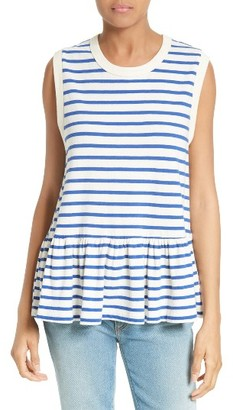 Women's The Great. The Sleeveless Ruffle Tee $135 thestylecure.com