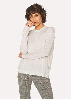 Paul Smith Women's Ivory Wool Sweater With Multi-Coloured Piping
