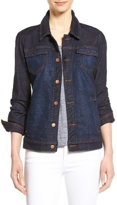 Petite Women's Eileen Fisher Denim Classic Collar Jacket $238 thestylecure.com