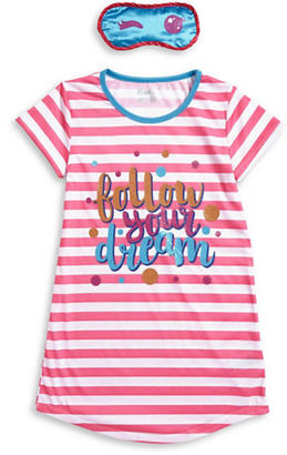Sleep On It Girls Striped Nightgown and Sleep Mask Set $26 thestylecure.com