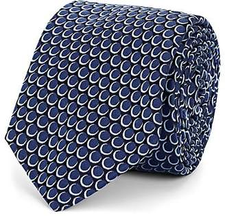 Barneys New York Men's Overlapping-Circle-Pattern Silk Jacquard Necktie - Navy