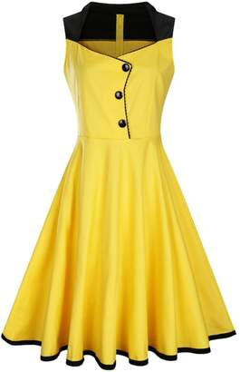 Tecrio Women Vintage 40s 50s V-Neck Sleeveless Rockabilly Party Swing Dress M