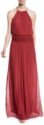 Halston Ruffled Halter Gown w/ Smocked Waist