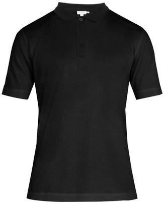 Sunspel Waffle Jersey Polo Shirt - Mens - Black