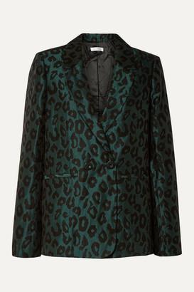 Anine Bing Madeleine Double-breasted Leopard-jacquard Blazer