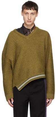 Lanvin Brown Asymmetric V-Neck Sweater
