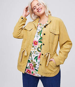 LOFT Plus Tie Waist Shirt Jacket