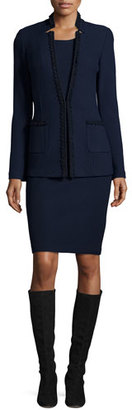 St. John Collection Micro-Boucle Notch-Collar Jacket, Navy $1,695 thestylecure.com