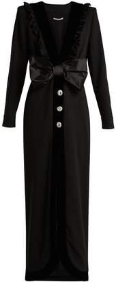 ALESSANDRA RICH Bow-trimmed V-neck wool-blend crepe dress