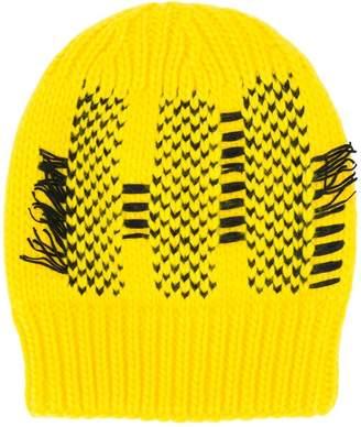 Y-3 stitch effect beanie hat