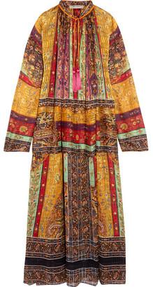 Etro - Oversized Tasseled Printed Silk-chiffon Maxi Dress - Brown $3,280 thestylecure.com