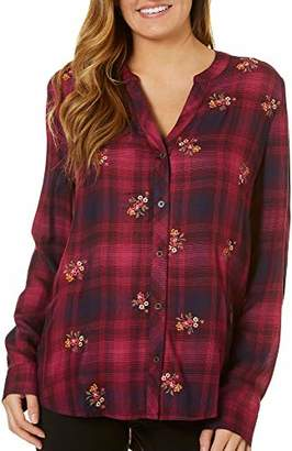 Democracy Women's 3/4 Sleeve Embroidered Plaid TOP