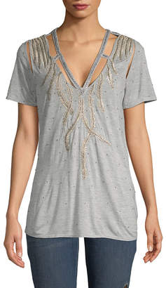 Haute Hippie Embellished Cut-Out T-Shirt
