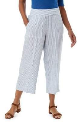 Olsen Anna Striped Cropped Linen Pants