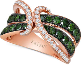 LeVian Le Vian Exotics® Gladiator® Green and White Diamond Ring (1 1/4 ct. t.w.) in 14k Rose Gold
