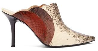 6014c1c3c Chloé Lauren Watersnake Print Leather Mules - Womens - Brown Multi