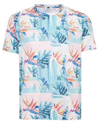 Topman Mens Blue Floral T-Shirt