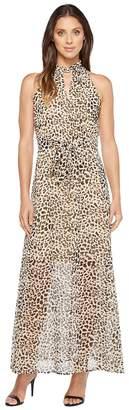 Calvin Klein Printed Maxi with Tie Belt Women's Dress