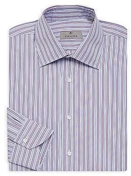 Canali Men's Bold Strip Dress Shirt