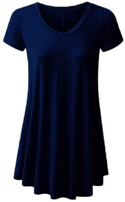Express ED Women's Summer Short Sleeve V Neck Loose Fit Flare Tunic Tops Basic T Shirt XL