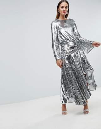 Asos Edition Drop Waist All Over Sequin Midi Dress