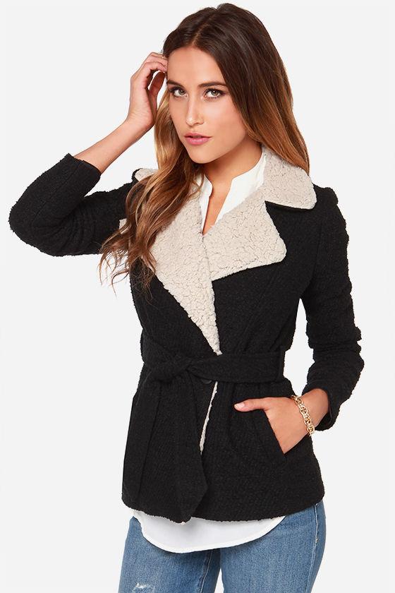 BB Dakota Smith Beige and Black Coat