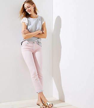 LOFT The Crop Jeans in Chalk Pink