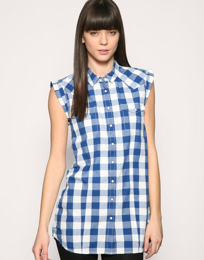 Wrangler Bright Check Sleeveless Tunic Shirt