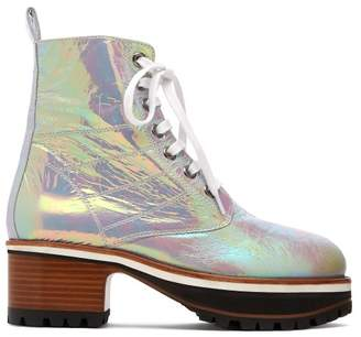 Sies Marjan Jessa Iridescent Leather Ankle Boots - Womens - Multi