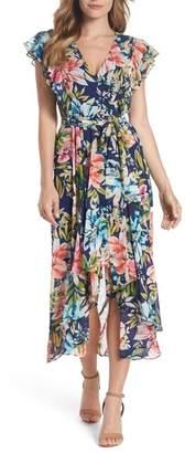 Eliza J Ruffle Floral Faux Wrap High\u002FLow Midi Dress (Regular & Petite)