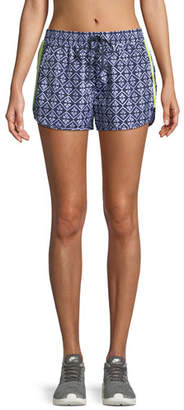 The Upside Drawstring Ikat-Print Neon Side-Stripe Shorts