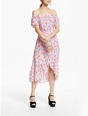 12e0c73ddc Somerset by Alice Temperley Off Shoulder Geometric Floral Midi Dress, Pink