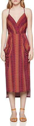 BCBGeneration Tile-Stripe Faux-Wrap Midi Dress