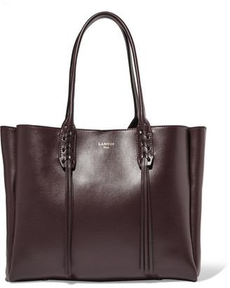 Lanvin - The Shopper Small Leather Tote - Burgundy $1,550 thestylecure.com