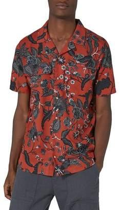 Topman Red Floral Revere Collar Shirt