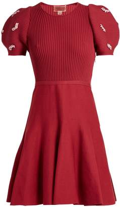 Giambattista Valli Embellished ribbed-knit cotton dress