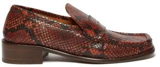 BY FAR Britney Python Effect Leather Loafers - Womens - Python