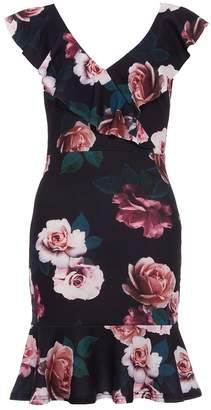 Quiz Black Berry And Green Frill Bodycon Dress