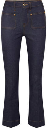 Khaite - Raquel Cropped High-rise Flared Jeans - Blue