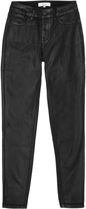 Reiss Lux Coated - Coated Mid Rise Skinny Jeans in Black