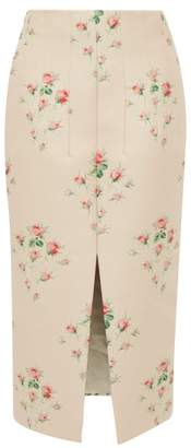 Brock Collection Floral Jacquard Front Slit Satin Skirt - Womens - Pink Multi